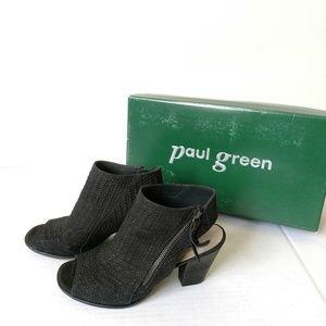EUC Paul Green Alexandra black sandals braided